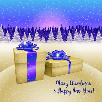 Pudełka na prezenty świąteczne i zimowy las