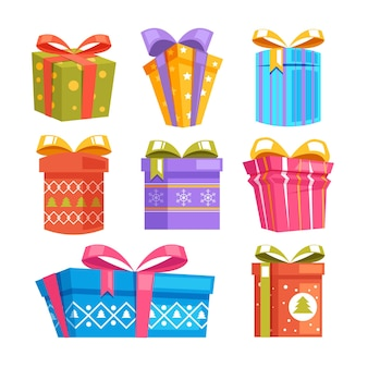 Pudełka na prezenty świąteczne na białym tle zestaw