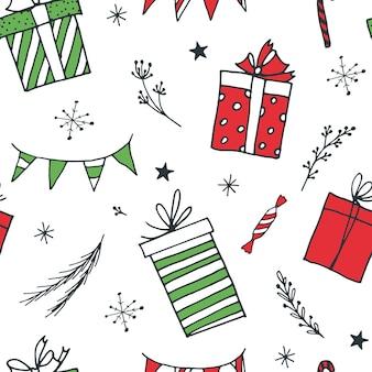 Pudełka na prezenty. wzór. styl doodle