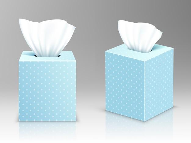 Pudełka na serwetki papierowe, otwarte opakowania z chusteczkami higienicznymi, widok z przodu iz boku
