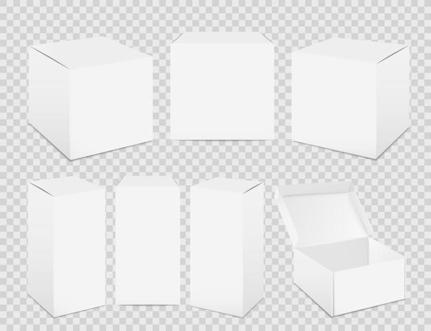 Pudełka papierowe. realistyczna makieta wysokiego białego kartonu, papierowy pojemnik na żywność. wektor zestaw izolowany pakiet dla medycyny na przezroczystym tle