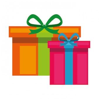 Pudełka prezentowe przedstawiają ikony