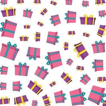 Pudełka prezentowe przedstawiają wzór