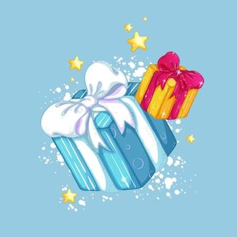 Pudełka prezentowe z pięknymi kokardkami na tle śniegu i złotych gwiazd. ozdoby świąteczne.