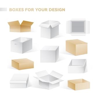 Pudełka - realistyczny nowoczesny wektor zestaw pojemników kartonowych w różnych pozycjach. białe tło. wysokiej jakości clipart brązowego, białego, otwartego, zamkniętego szablonu opakowania.