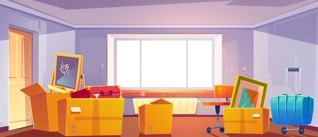 Pudełka w pokoju, przejdź do nowej koncepcji domu. dom z kartonowymi pojemnikami pełnymi artykułów gospodarstwa domowego, mebli, rzeczy dla dzieci i bagażu, wnętrze mieszkania z dużym oknem, ilustracja kreskówka