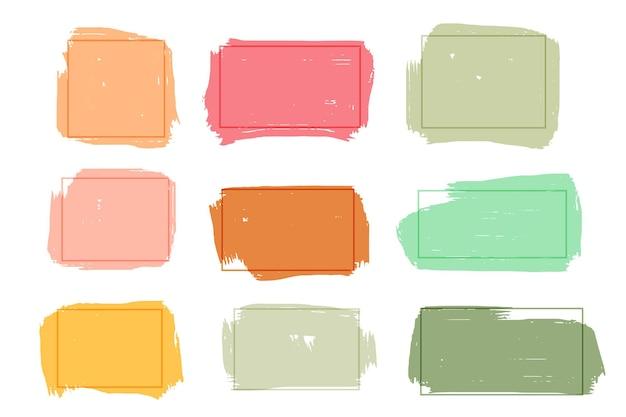 Pudełka z banerami grunge w wielu kolorach