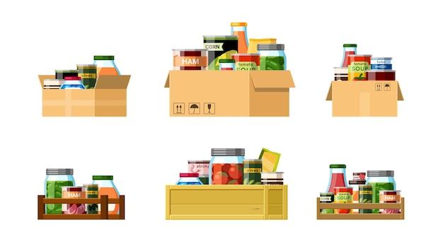 Pudełka z zestawem konserwowym. pakowane racje żywnościowe z niezbędnymi produktami do długoterminowego przechowywania puszki hodowcy przetwory grzybowe i pomidorowe oraz opakowania z rybami i wieprzowiną. kreskówka wektor