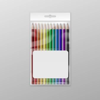 Pudełko barwioni ołówki odizolowywający na tle
