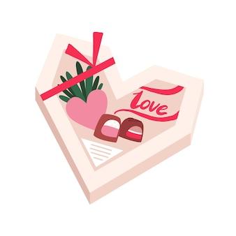 Pudełko czekoladek prezent świąteczny w kształcie serca. na białym tle
