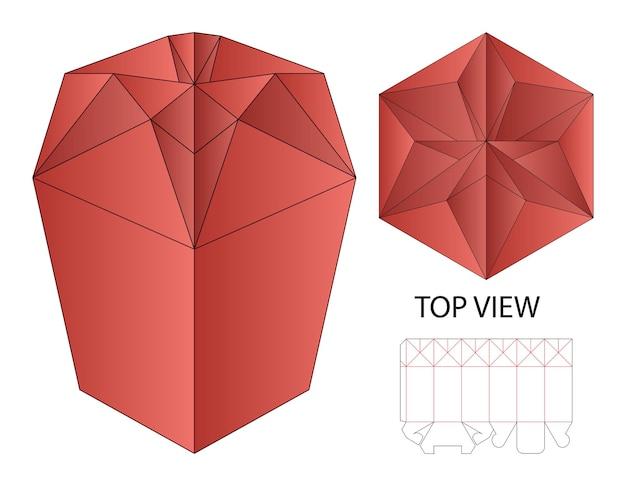 Pudełko Do Pakowania Wycinane Szablon Projektu 3d Premium Wektorów