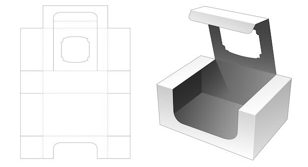 Pudełko do pakowania z okienkiem na górze szablonu wycinanego z klapką