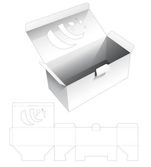 Pudełko do pakowania z okienkiem w kształcie pandy na szablonie wycinanym z klapką