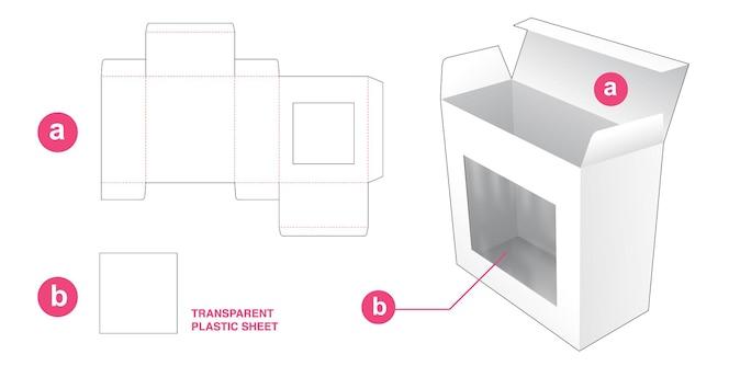 Pudełko do pakowania z prostokątnym szablonem wycinanym z okienkiem
