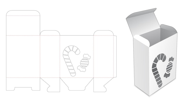 Pudełko do pakowania z szablonem wycinanych cukierków i toffi