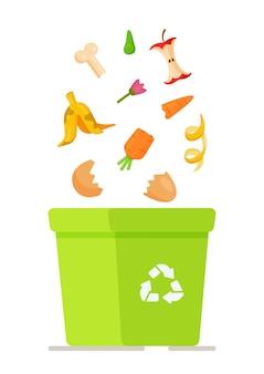 Pudełko do recyklingu. ilustracja zamawiania usług na wywóz śmieci, zakład recyklingu. śmieci z kreskówek i śmieci żywnościowe, zbieranie śmieci na składowisku do recyklingu.
