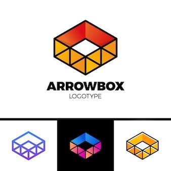 Pudełko dostawy ze strzałką logo i symbolem trójkąta. kolorowy styl linii