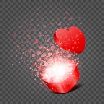 Pudełko i konfetti serca na przezroczystym tle. łatwe do wymiany tło.