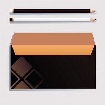 Pudełko i ołówek, szablon tożsamości korporacyjnej na białym tle