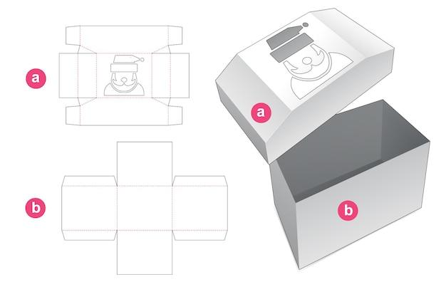 Pudełko i pokrywka w kształcie klatki piersiowej z szablonem wycinanym w kształcie santa cluas