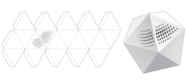 Pudełko icosahedon z wykrojonym szablonem w kropki