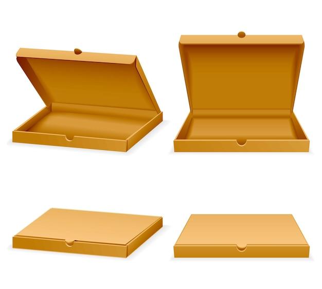 Pudełko kartonowe do pizzy. otwarte i zamknięte realistyczne puste opakowanie do transportu ilustracji fast food