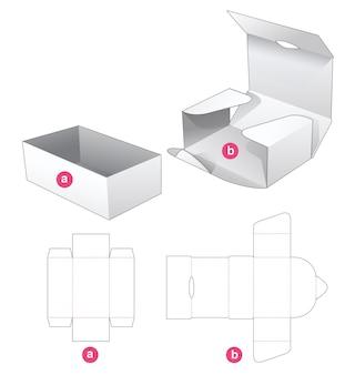 Pudełko kartonowe i szablon wycinany z owiniętej okładki