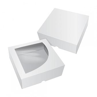 Pudełko kartonowe na ciasto białe. na fast food, prezent itp.