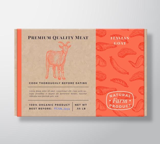 Pudełko kartonowe realistyczne wzór mięsa