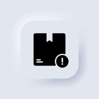 Pudełko kartonowe ułożone w stos. ikona dostawy. pudełka kartonowe pakowane w zapieczętowane towary. biały przycisk sieciowy interfejsu użytkownika neumorphic ui ux. neumorfizm. wektor eps 10.