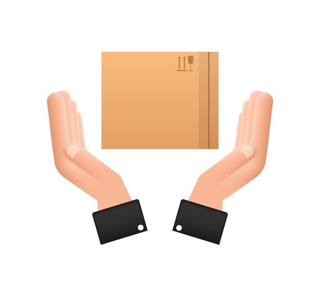 Pudełko kartonowe w ręce. symbol dostawy przesyłki. ikona pola prezent. czas ilustracja wektorowa.