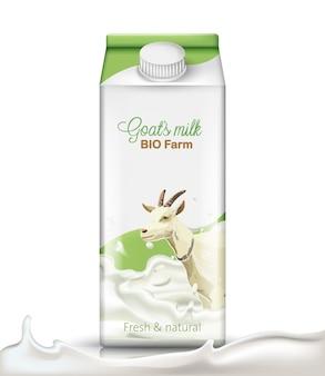 Pudełko kartonowe z kozą zanurzoną w mleku. świeży i naturalny. realistyczny.