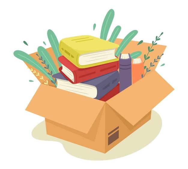 Pudełko kartonowe z książkami. pakiet. ilustracja w stylu płaski.