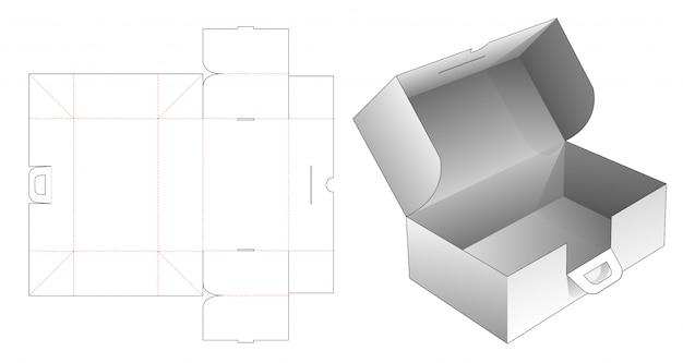 Pudełko kartonowe z uchwytami wycinane szablonem