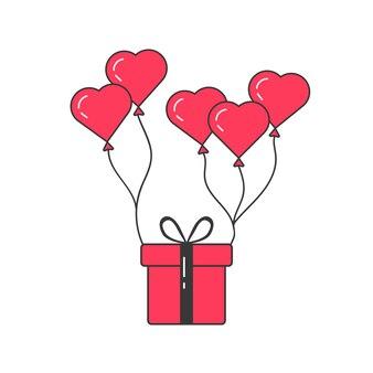 Pudełko latające na balonach. koncepcja podniebna, oferta specjalna, obdarowanie, podarowanie prezentu, opakowanie, impreza, zabawa, radość. na białym tle. płaski trend nowoczesny projekt logo ilustracja wektorowa