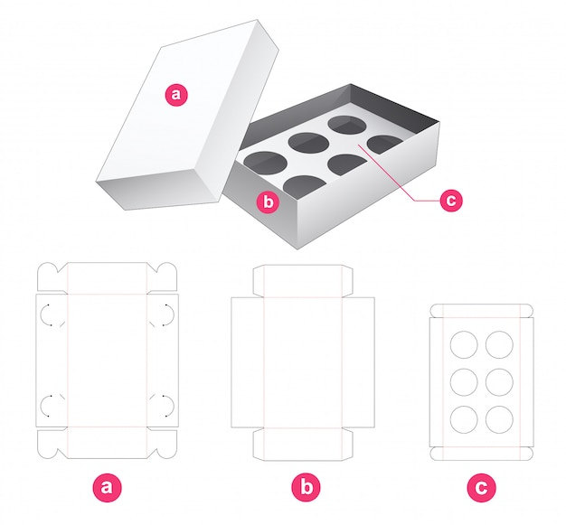 Pudełko na babeczki z uchwytem na wkład i szablonem wycinanym w wieczku