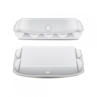 Pudełko na jajka makieta szablon wektora, białe puste pojemniki z klapką.