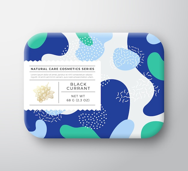 Pudełko na kosmetyki owocowe do kąpieli w opakowaniu papierowym z etykietą pielęgnacyjną.