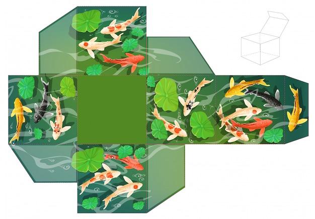 Pudełko na prezent. karpie koi ryb pod wodą.