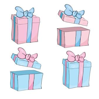 Pudełko na prezent na boże narodzenie, nowy rok, różowe i niebieskie pudełko białe tło.