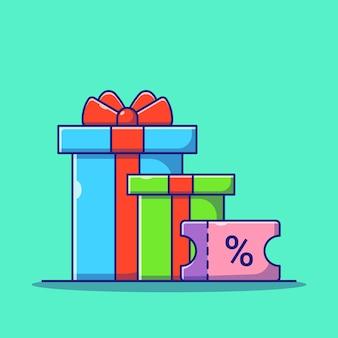 Pudełko na prezent niespodzianka i kupon rabatowy prezent płaski ikona ilustracja na białym tle
