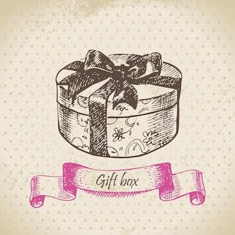 Pudełko na prezent. ręcznie rysowane ilustracja