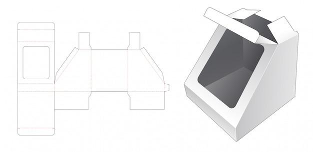 Pudełko na zabawki w kształcie trójkąta z szablonem wycinanym w oknie