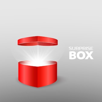 Pudełko niespodzianka w formie otwartego serca. romantyczny prezent dla kobiet na boże narodzenie, walentynki lub dzień kobiet. koncepcja ilustracji wektorowych