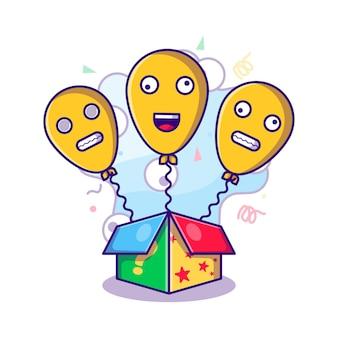 Pudełko niespodzianka z balonem do ilustracji fools day w stylu płaskiej kreskówki