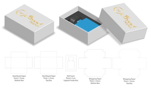 Pudełko pakuje kostka do gry szablonu 3d mock-up