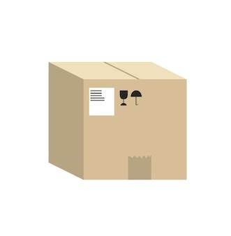 Pudełko papierowe izolowane na białym tle ilustracji wektorowych w stylu płaski przyjazny dla środowiska ...