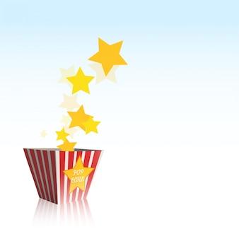 Pudełko pop corn z gwiazdami