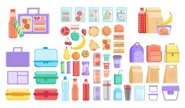 Pudełko śniadaniowe. szkolny lub biurowy pojemnik na lunch oraz zestaw produktów z owocami, warzywami, hamburgerami i napojami w butelkach. ilustracja plastikowego pojemnika, tekstylnej i jednorazowej torby papierowej
