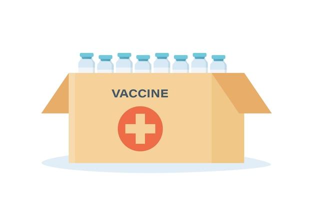 Pudełko szczepionki na koronawirusa. dostarczenie szczepionki do szpitala.